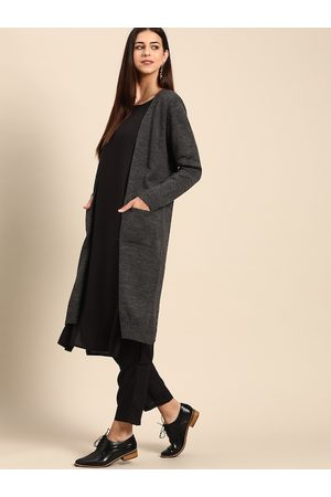 Anouk Women Charcoal Grey Solid Open Front Longline Shrug