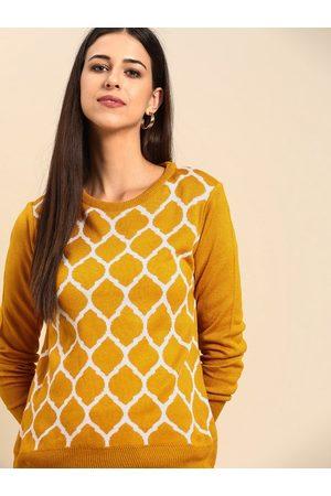 Anouk Women Mustard Yellow & White Printed Pullover