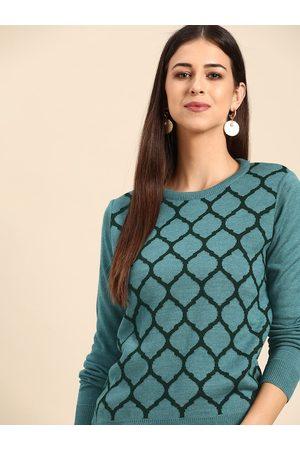 Anouk Women Blue & Green Printed Pullover