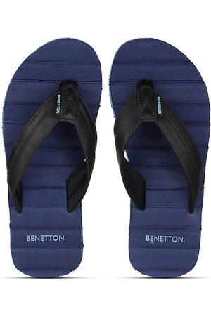 United Colors of Benetton Men Navy Blue & Black Striped Rubber Thong Flip-Flops