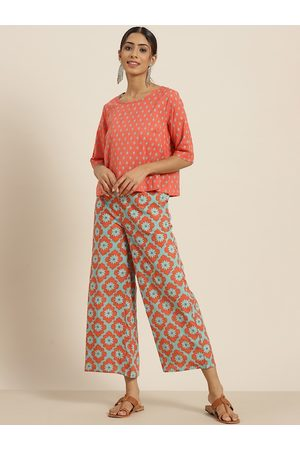 Sangria Women Coral & Green Pure Cotton Printed Top with Palazzos