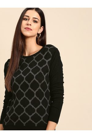 Anouk Women Black & Grey Printed Pullover