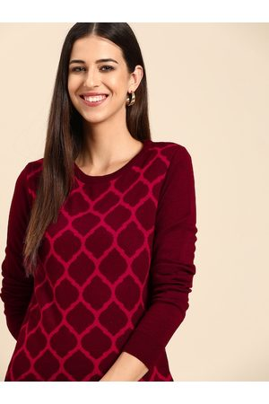 Anouk Women Maroon & Pink Printed Pullover