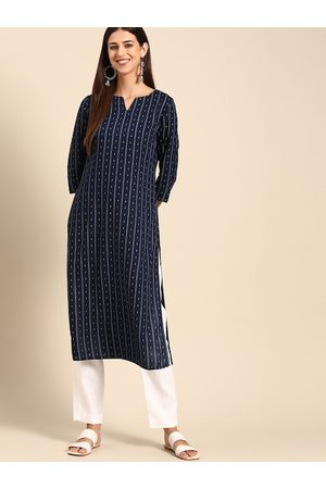 Anouk Women Navy Blue & White Striped Straight Kurta
