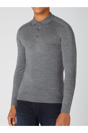 Remus Grey Long-Sleeved Knitted Polo Shirt
