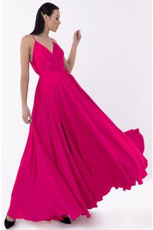Angelika Jozefczyk Satin Long Fuchsia Evening Gown