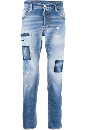 Dsquared2 Men's Navy patchwork distressed-effect skinny jeans