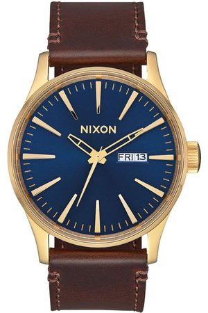 Nixon Sentry Leather Watch - Polished Gold/Navy Sunray Colour: Polished Gold/Navy Sunray