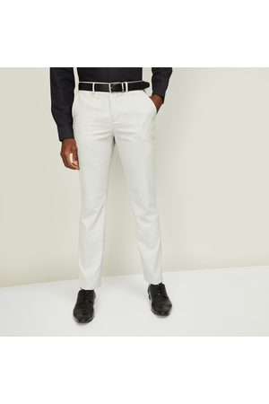 Code Men Textured Slim Straight Fit Formal Trousers