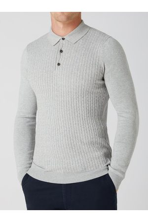 Remus Uomo Grey Cable-Knit Long-Sleeved Knitted Polo Shirt