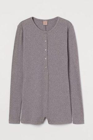 H&M Ribbed modal-blend playsuit - Grey