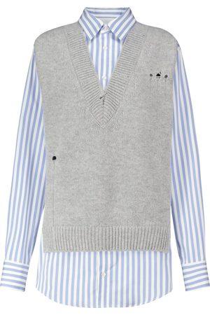Maison Margiela Layered striped cotton and wool shirt