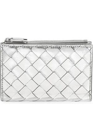 Bottega Veneta Intrecciato Metallic Leather Zip Wallet