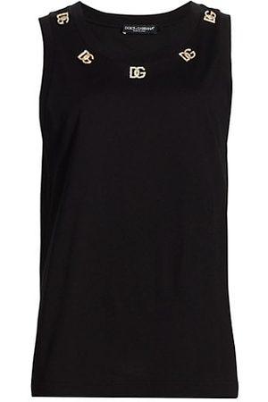 Dolce & Gabbana Women Tank Tops - Metal & Crystal-Embellished Logo Tank