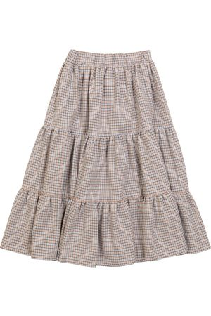PAADE Houndstooth cotton and wool skirt