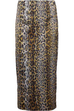 ROTATE Tasha leopard-print midi skirt