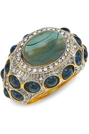 Kenneth Jay Lane Rings - Goldplated Crystal & Faux Sapphire Cocktail Ring