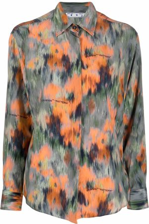 OFF-WHITE Abstract floral print silk shirt