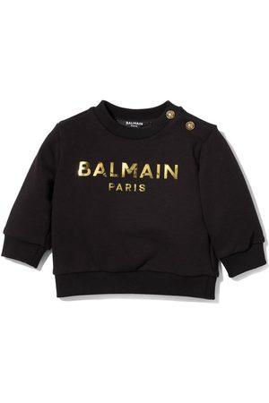 Balmain Sweatshirts - Metallic logo crew neck sweatshirt