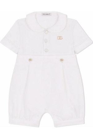 Dolce & Gabbana Short Sleeve - Embroidered logo short-sleeve romper