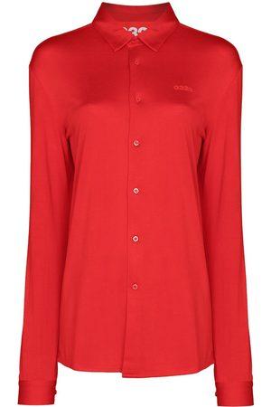 032c Women Long Sleeve - Logo-print silk shirt