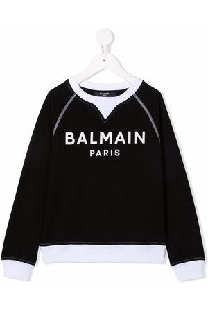 Balmain Boys Long Sleeve - Logo-print long-sleeved jumper