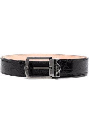 Salvatore Ferragamo Men Belts - Crinkled leather buckle belt