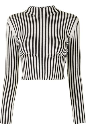 DION LEE Striped slash-cut longsleeved top