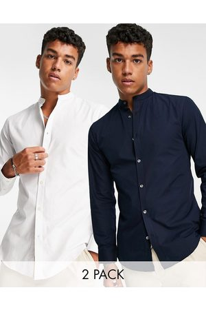 French Connection 2 pack grandad slim fit formal shirt