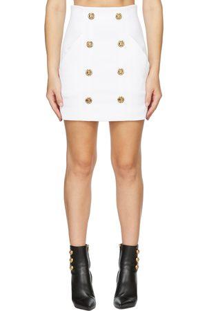 Balmain Women Skirts - Logo Gold Button Skirt