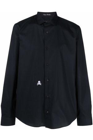 Philipp Plein Men Long Sleeve - Embroidered-skull button-up shirt