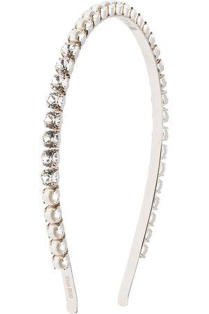 Miu Miu Women Headbands - Pearl and crystal embellished headband