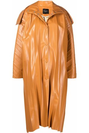 A.W.A.K.E. MODE Women Trench Coats - Pleated faux-leather coat