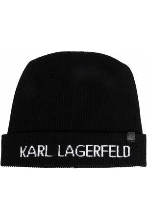 Karl Lagerfeld Women Beanies - Logo-print knitted beanie