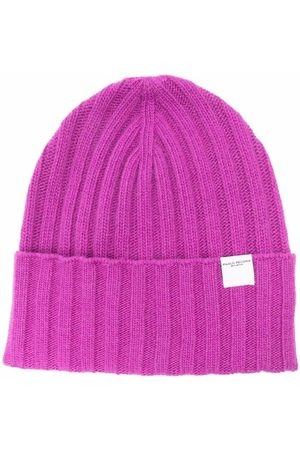 Paolo Pecora Ribbed-knit logo-patch beanie