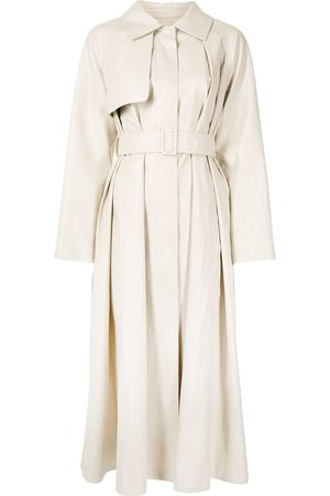 GOEN.J Faux-leather belted trench coat