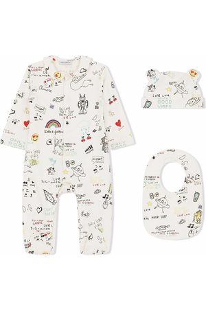 Dolce & Gabbana Sets - Sketch-print cotton babygrow set