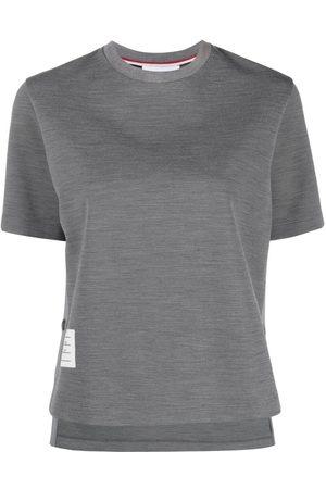 Thom Browne Women Short Sleeve - Logo patch crew neck T-shirt
