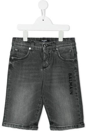 Balmain Boys Shorts - Logo-print denim shorts