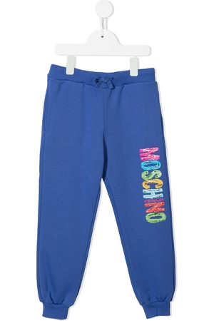 Moschino Boys Sports Trousers - Paint-effect logo-print track pants