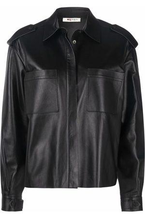 PORTS 1961 Concealed leather shirt jacket