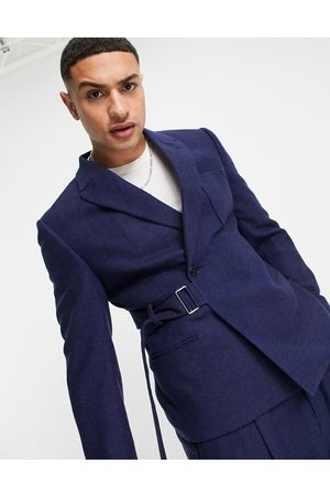 ASOS Men Blazers - Slim crop suit jacket in wool mix twill with utility strapping detail in
