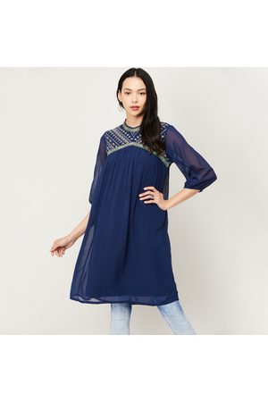 Colour Me Women Embroidered Three-quarter Sleeves Tunic