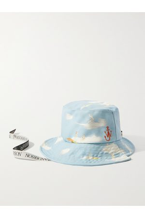 J.W.Anderson Men Hats - Asymmetric Logo-Embroidered Printed Cotton-Canvas Bucket Hat