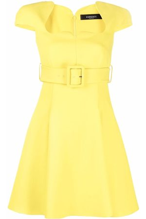 VERSACE Belted flared dress