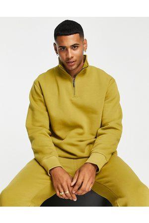 Topman Men Sets - Co-ord half zip sweatshirt in olive
