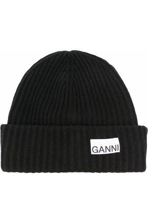 Ganni Logo-patch beanie hat