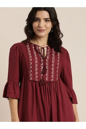all about you Maroon Yoke Embroidered Tie-Up Neck A-Line Dress