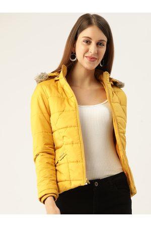 Monte Carlo Women Mustard Yellow Parka Jacket With Detachable Hood