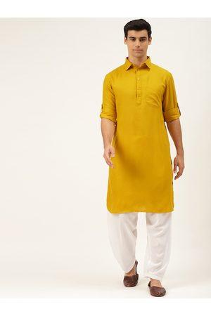 Molly & Michel Men Mustard Yellow Regular Pure Cotton Kurta with Salwar